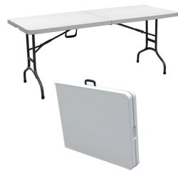 Lifetime commercial grade fold-in-half table