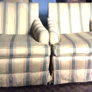 Set of 2 striped cream sofas